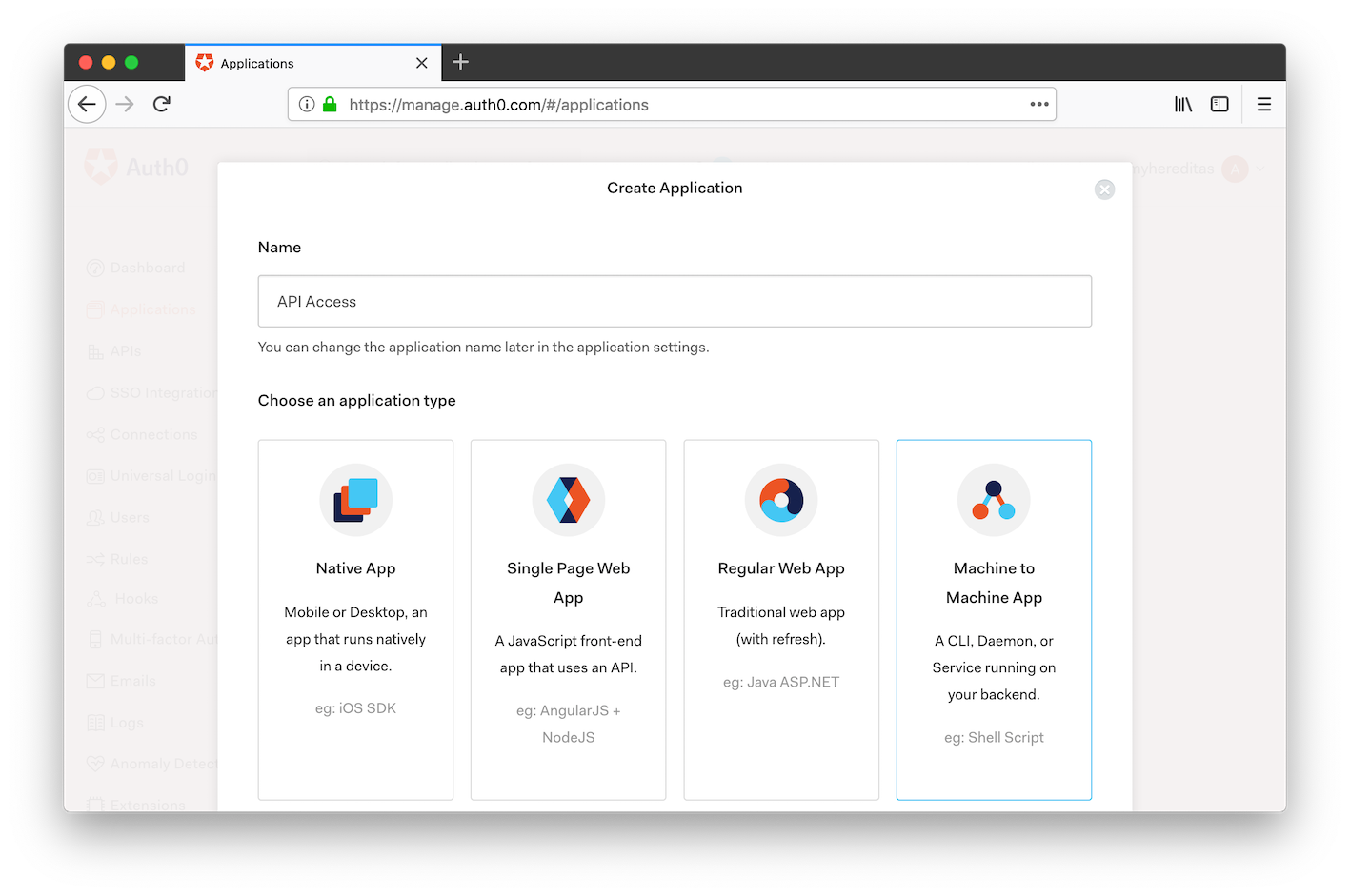Auth0 management portal: create a new Machine to Machine application