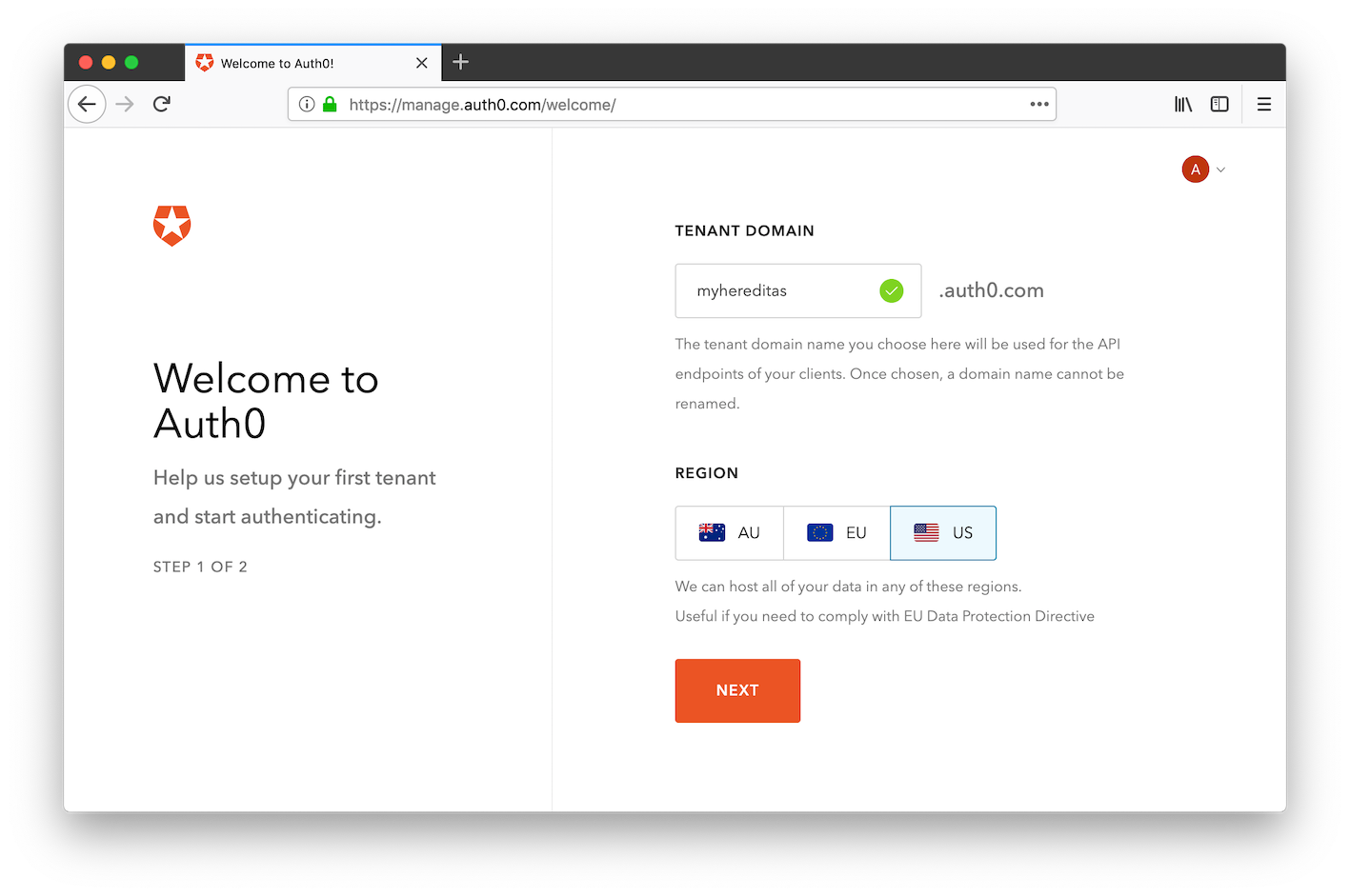 Auth0 management portal: new domain creation