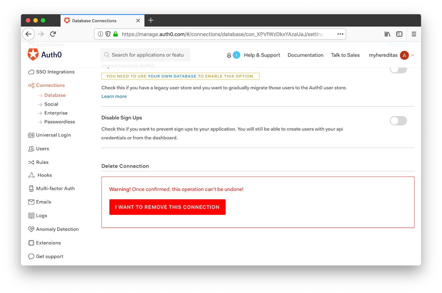 Auth0 management portal: remove the database
