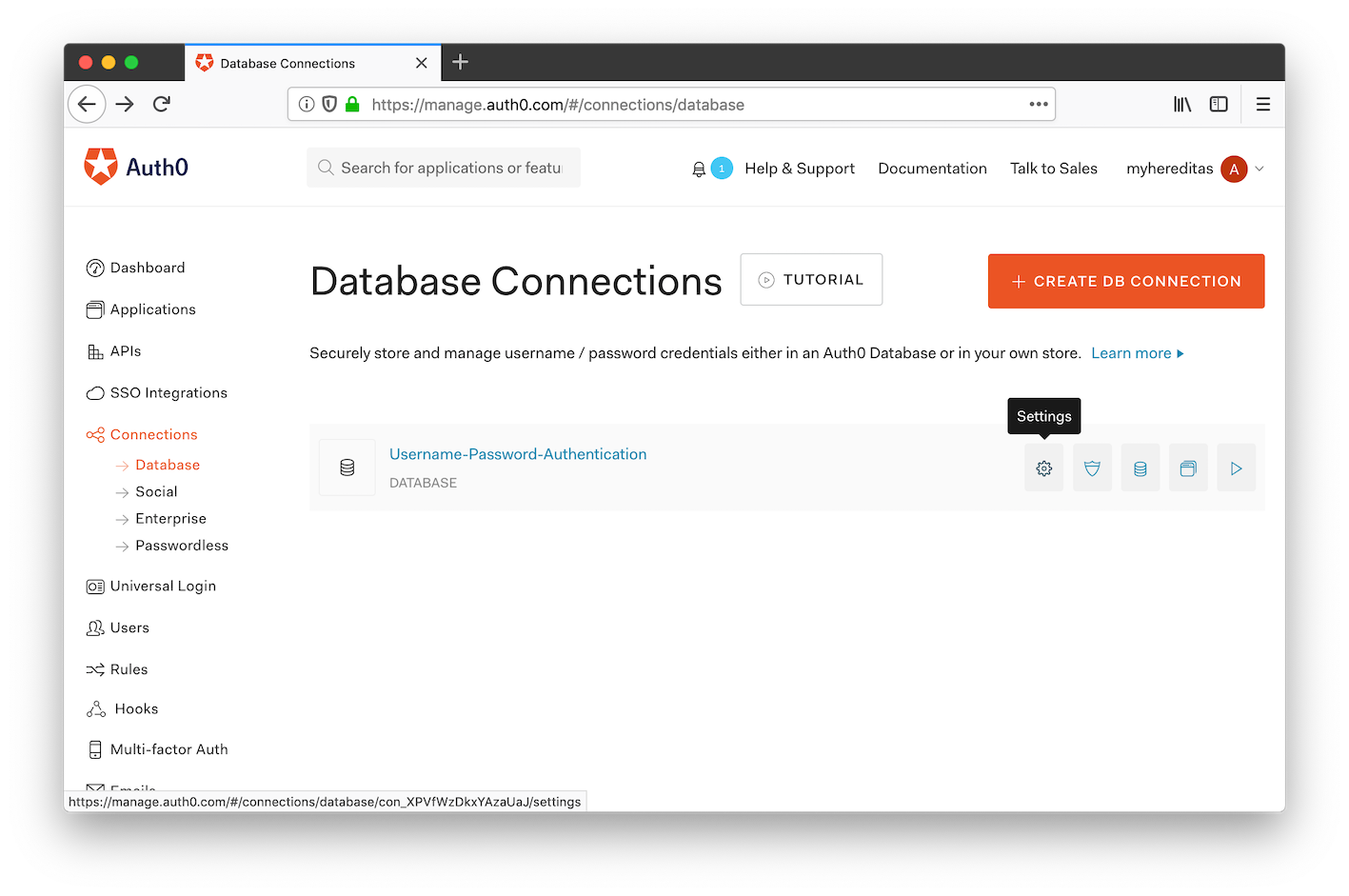 Auth0 management portal: database